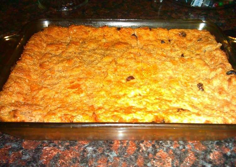 Recipe: Delicious Raisin Bread Pudding /Budín de pan con pasas