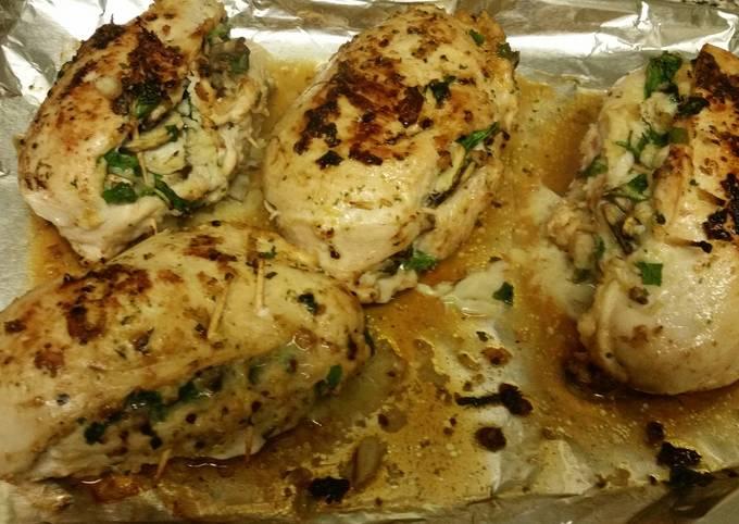 Crab, Spinach, Mushroom, & Parmesan Chicken