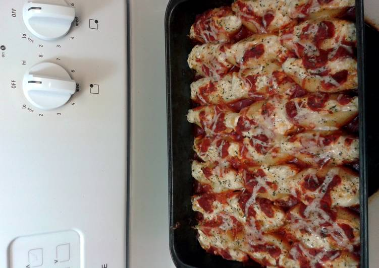 Shrimp stuffed shells with 4 cheese.