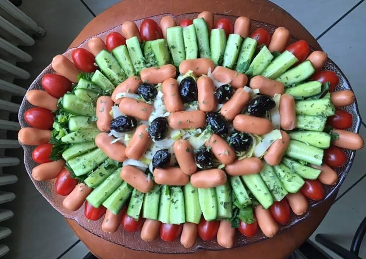 Recettes Salade composée aux légumes d été et saucisses cocktail