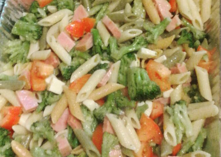 My Famous Tri Color Pasta  salad with Ham and Cheese and Veggies