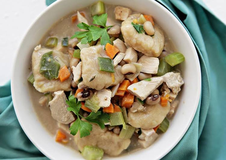 Creamy Chicken and Dumplings with Fresh Field Peas and Veggies