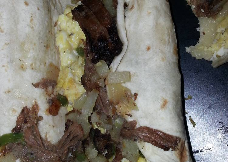 Left over roast beef breakfast burrito