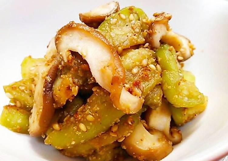 How to Prepare Yummy Autumn Eggplant & Shiitake Mushrooms with a Sesame Sauce