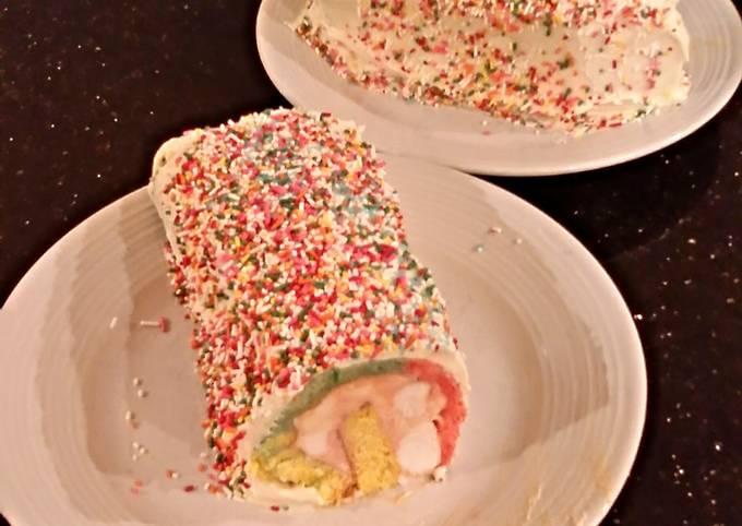 Rainbow Sherbet ( Sorbet ) Filled Striped Vanilla Cake Roll