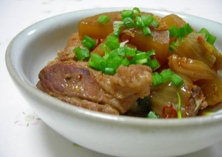 The Meat is Fall-Apart Tender! Daikon Radish and Spareribs Simmered with Kimchi - Laurie G Edwards