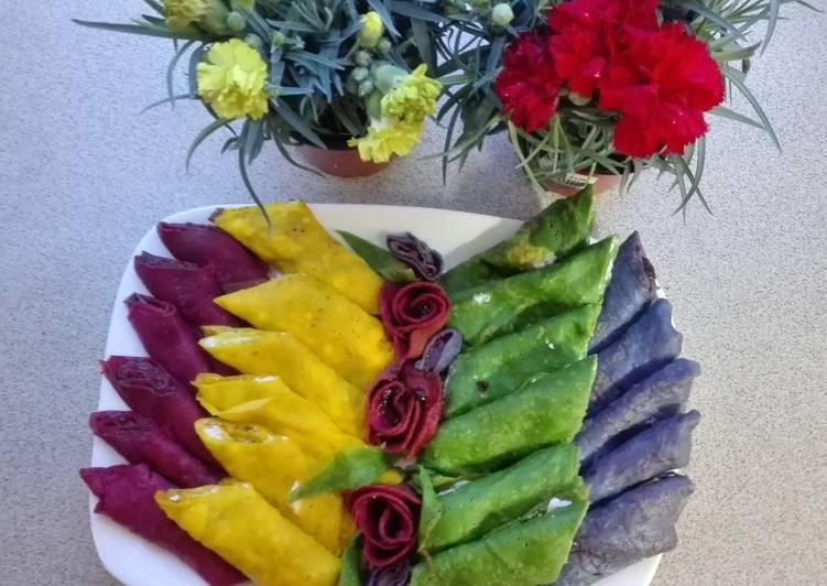 Crepes de colores! Cómo hacer Crepes de Colores Dulces!
