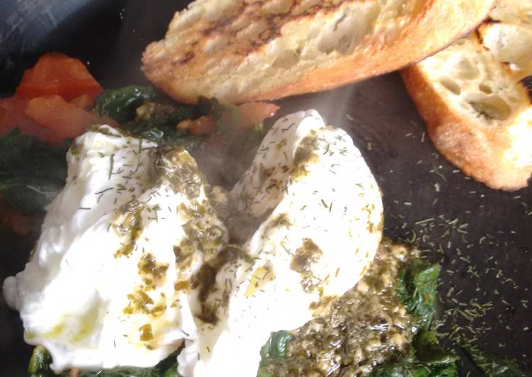 Pesto Butter Poached Eggs & garlic oil toast