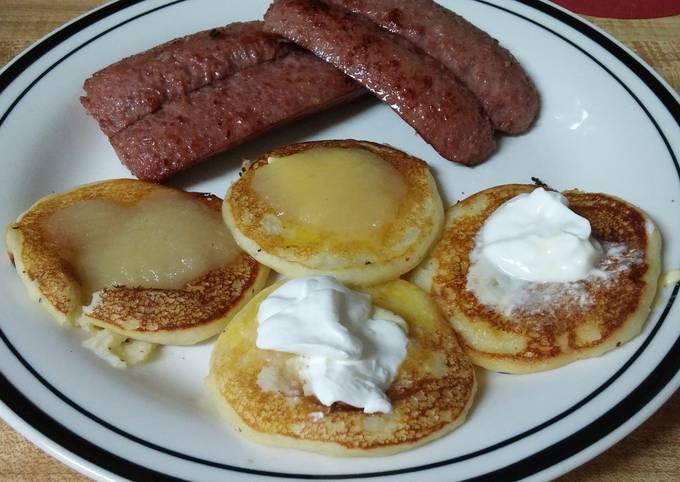 Fried Beef Sausage with Potato Pancakes
