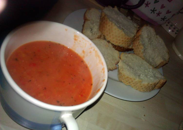 Steps to Make Quick Roasted Tomato and Red Pepper Soup