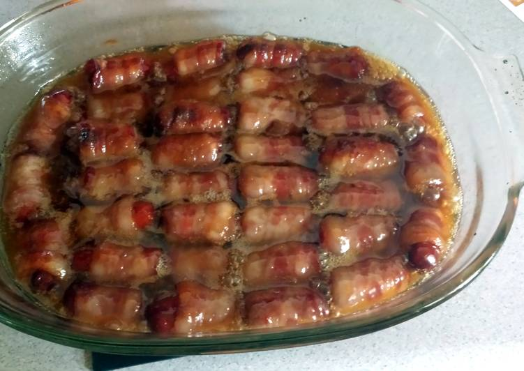 bacon wrapped smokies with butter and brown sugar