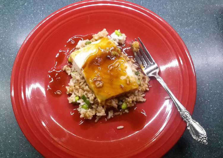 Sake glazed Halibut over rice