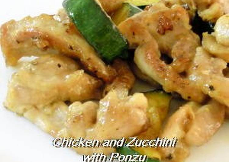 Easiest Way to Prepare Super Quick Homemade Chicken Thighs and Zucchini in Ponzu Sauce Stir-fry