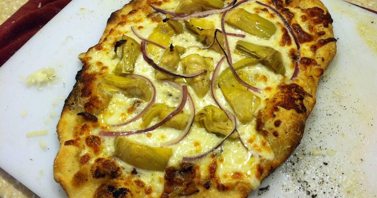 Artichoke And Onion White Pizza