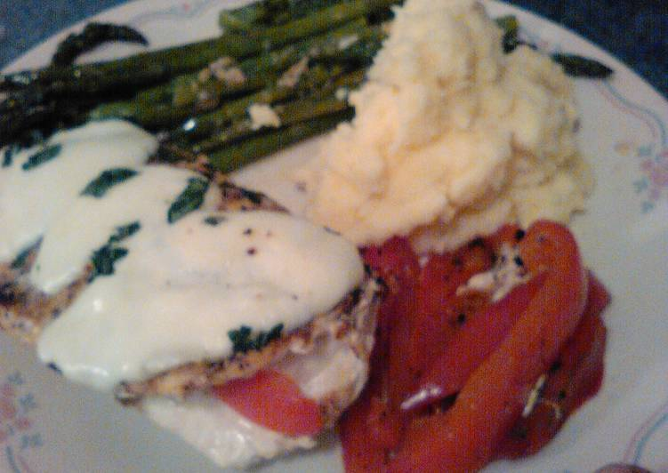 Red pepper stuffed chicken