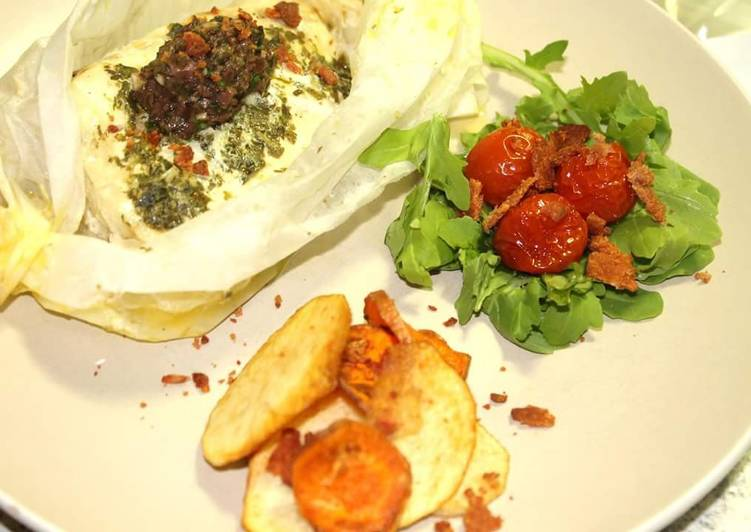 Recipe of Ultimate FISH POCKETS, TEPENARD, ROAST CHERRY TOMATOES, VEGGIE CHIPS and BACON CRUMBLE