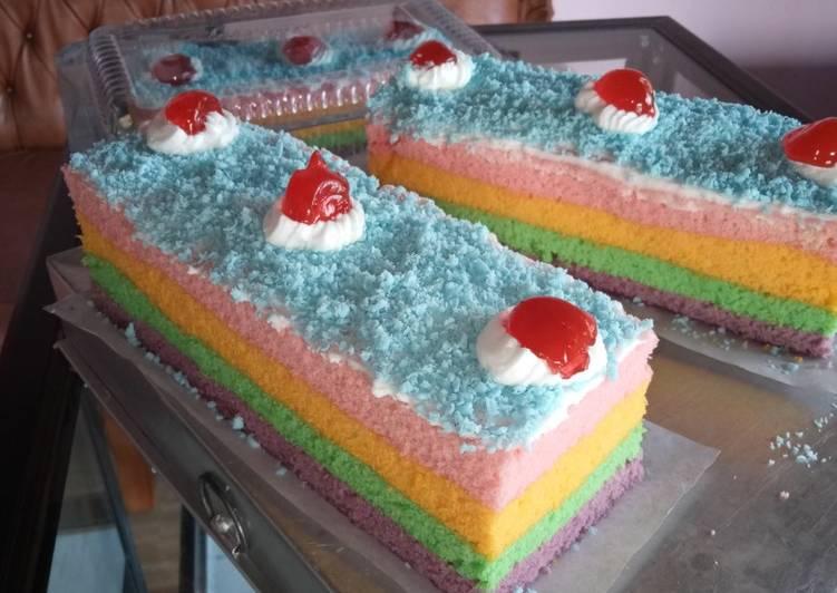 Rainbow Cake Kukus Mantull takaran sendok makan