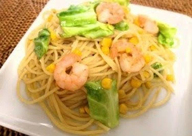 Shrimp and Cabbage Pasta with Shio-Koji