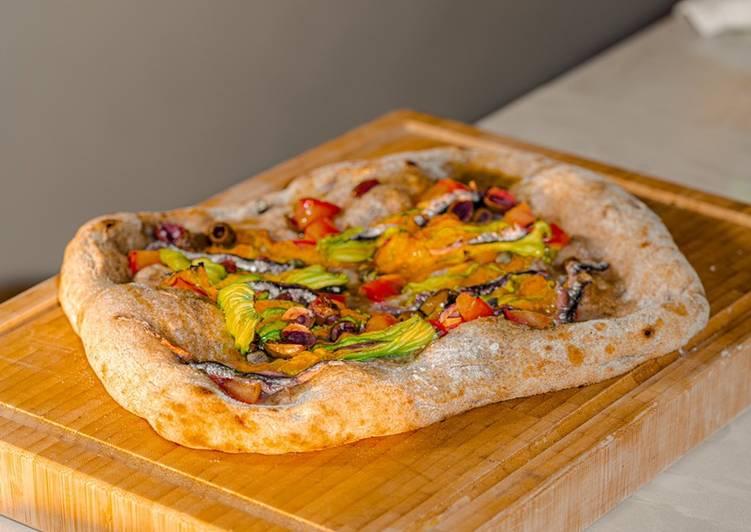 Ricetta Pizza Integrale con Fiori di Zucca e Alici