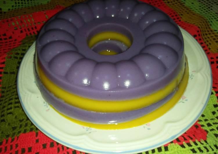 Pudding Lapis Ubi Ungu&Labu Kuning