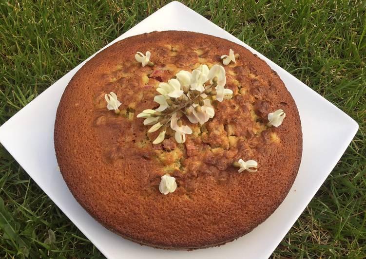 recette Gâteau à la rhubarbe et fleurs d'acacias le délicieux