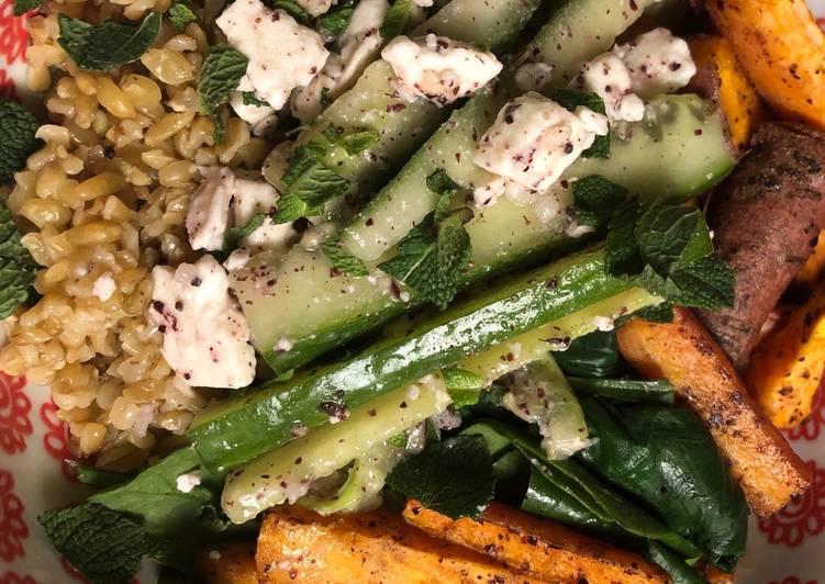 How to Make Perfect Buddha bowl with feta and sumac - vegetarian