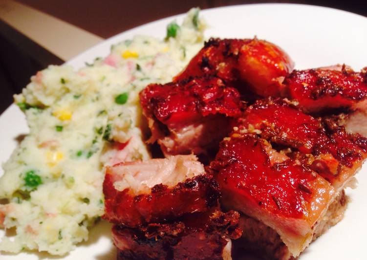 Crackin' Pork Belly with Spinach-Bacon Mash