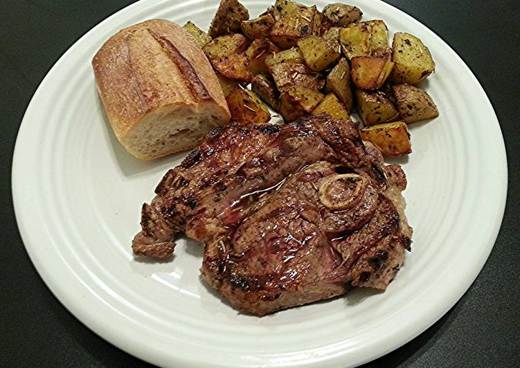 Grilled Lamb Steak with Italian Roasted Potatoes