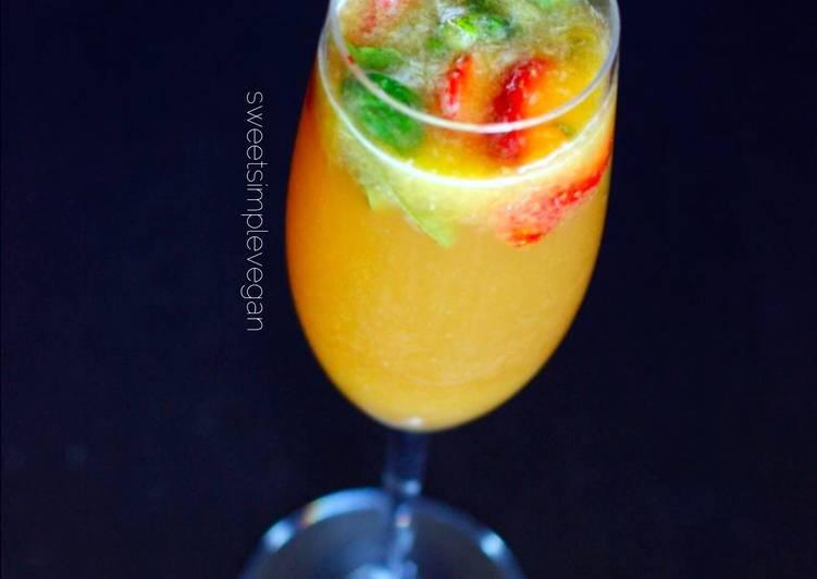 Raw Vegan Strawberry Orange & Basil Mimosas
