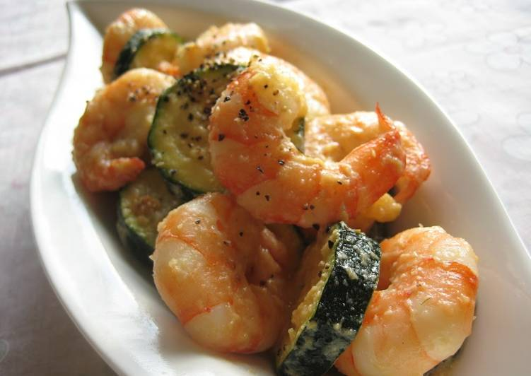 Steps to Make Ultimate Shrimp and Zucchini Stir Fried In Milk And Miso