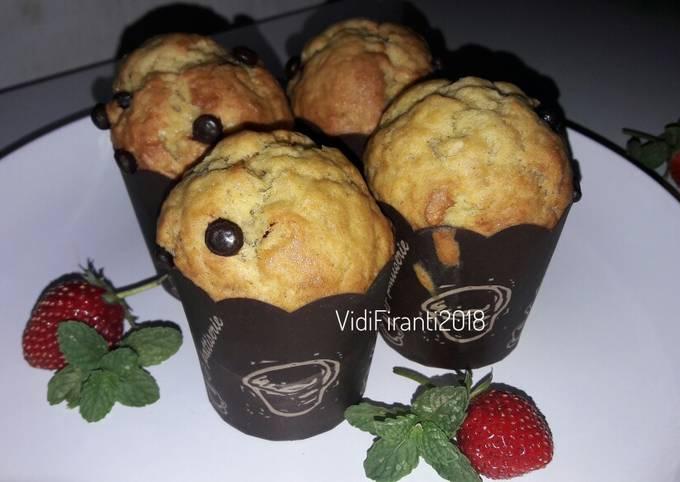 Banana Muffin Chocolate Chip Tanpa Mixer