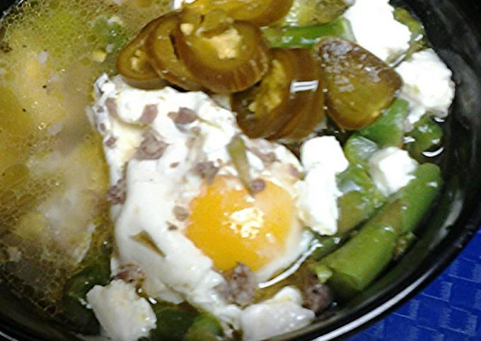 Sausage, asparagus, and egg soup