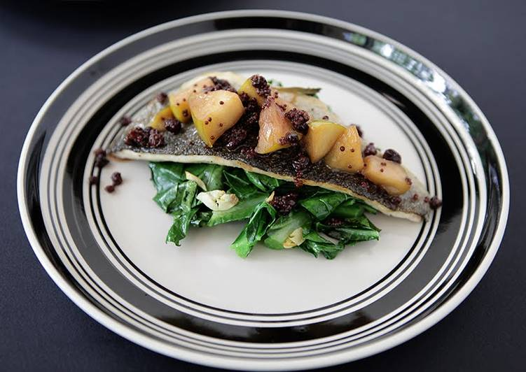 5 Minute Simple Way to Prepare Special Sautéed Trout Filet Topped with Apple Mostardo and Garlicky Collard Greens