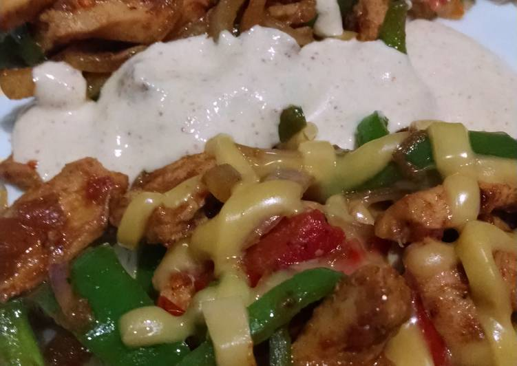 Stir fry chicken fajita