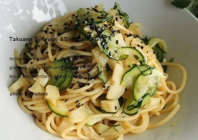 Information on How to Improve Your Mood with Food Takuan (Yellow Pickled Daikon), Cucumber & Shiso Leaves Pasta