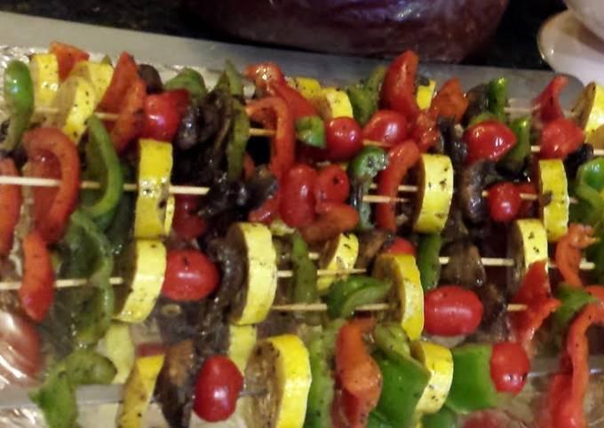 Grilled Veggie Skewers in Oil & Vinegar Marinade