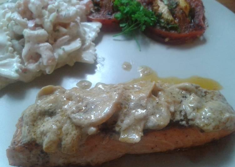 Steak salmon in mushroom white wine sauce