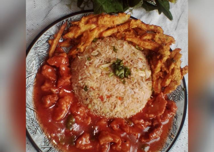 Chicken Manchurian with Egg Fried Veggies Rice & Crispy fries