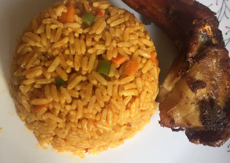 Party jollof rice and fried chicken