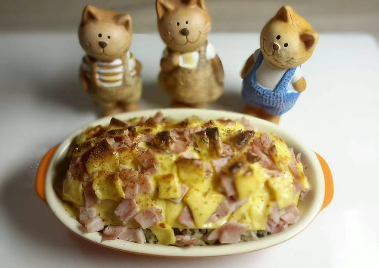 Recipe of Top-Rated Rice Baked with Ham and Cheese