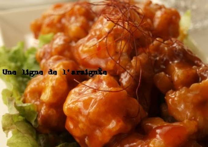 Light and Crunchy Pork and Lotus Root Fritters with Spicy Sweet-and-Sour Sauce