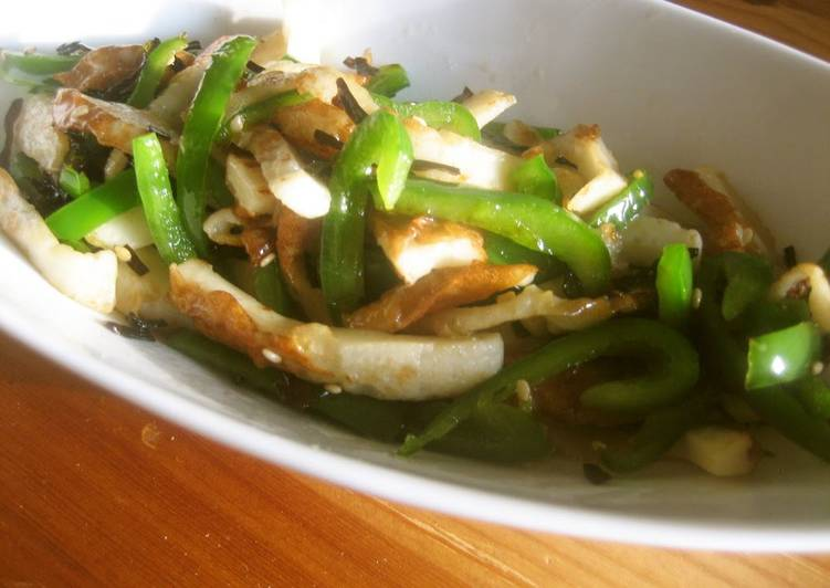 10 Minute Dinner Ideas Royal Green Peppers, Chikuwa, and Shio-Kombu Stir-Fry