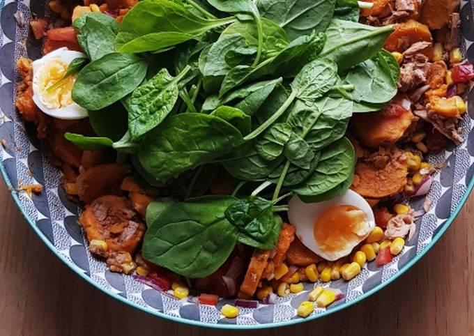 Salade de patate douce thon et epinard
