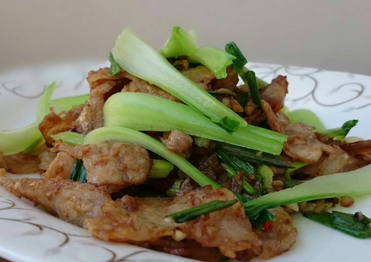 Easiest Way to Prepare Quick Pork Slice In Oyster Sauce With Bak Choy