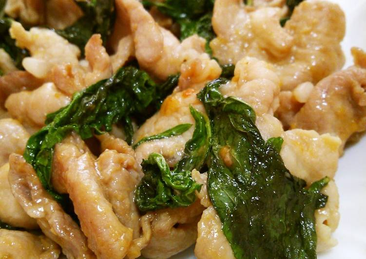 Step-by-Step Guide to Prepare Perfect Rich & Tasty Stir-fried Pork and Shiso Leaves with Miso and Butter