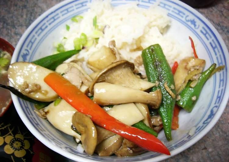 Simple Way to Prepare Perfect King Mushroom + Okra Stir-fry