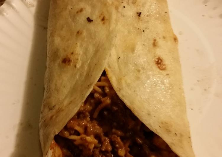 Cheesy Rice and beef burrito