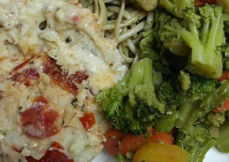 Simple Way to Make Creamy Chicken with Oven Roasted Tomatoes