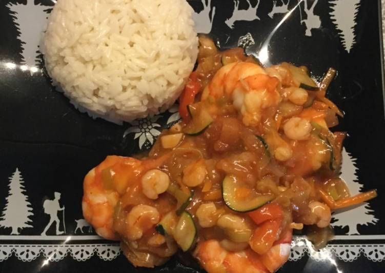 Crevetten süß-sauer mit Jasmin-Reis