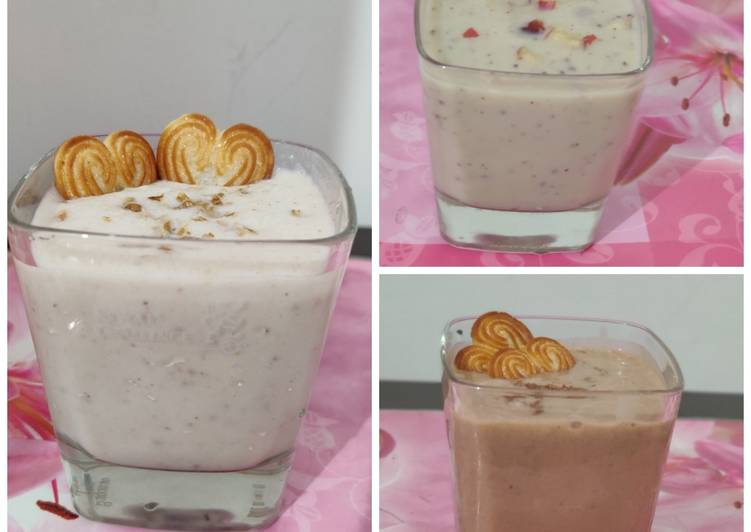 Banana smoothie in three different styles